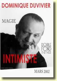magie intimist affiche - Intimiste Show de Dominique DUVIVIER