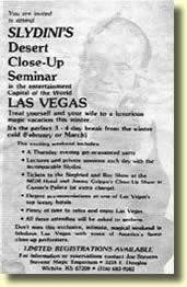 """Invitation originale pour le 1er """" Slydini's Desert Seminar """" en Mars 1978."""