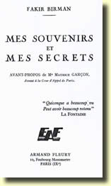 Mes Souvenirs et mes Secrets de Fakir BIRMAN
