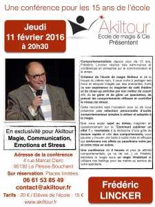 Conférence de Frédéric LINCKER - Magie, Communication, Emotions et Stress (95) @ Akiltour