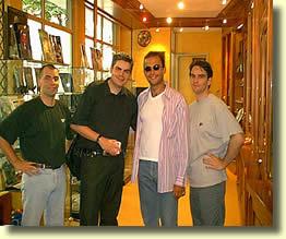 quelques clients de passage: Chris, Nikola, Emmanuel et Thierry