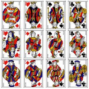 Les 12 figures traditionnelles d'un jeu de cartes.